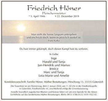 Todesanzeige Fritz Höner